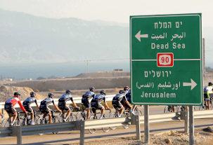 Saxo Bank rueda en un camp en Jerusalén