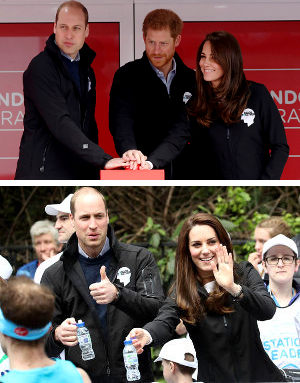 Príncipes William, Harry y Kate salida Maratón de Londres 2017