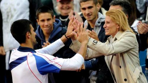 Novak Djokovic y su mamá Tara