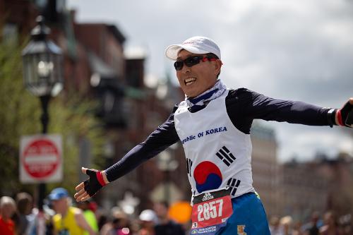 Casi en la meta del Maratón de Boston 2019