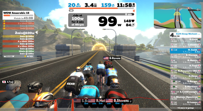 Pantalla visual Zwift