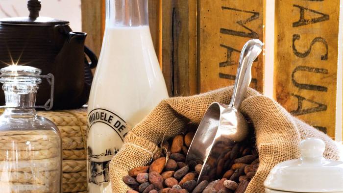 Semillas de cacao y leche