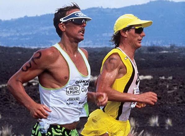 Dave Scott y Mark Allen IRONMAN Hawái 1995 - maratón