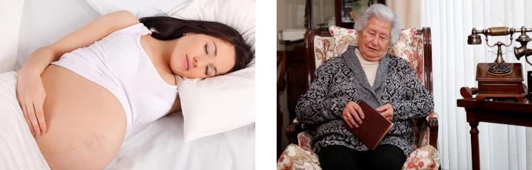 Mujer embarazada y abuelita duermen